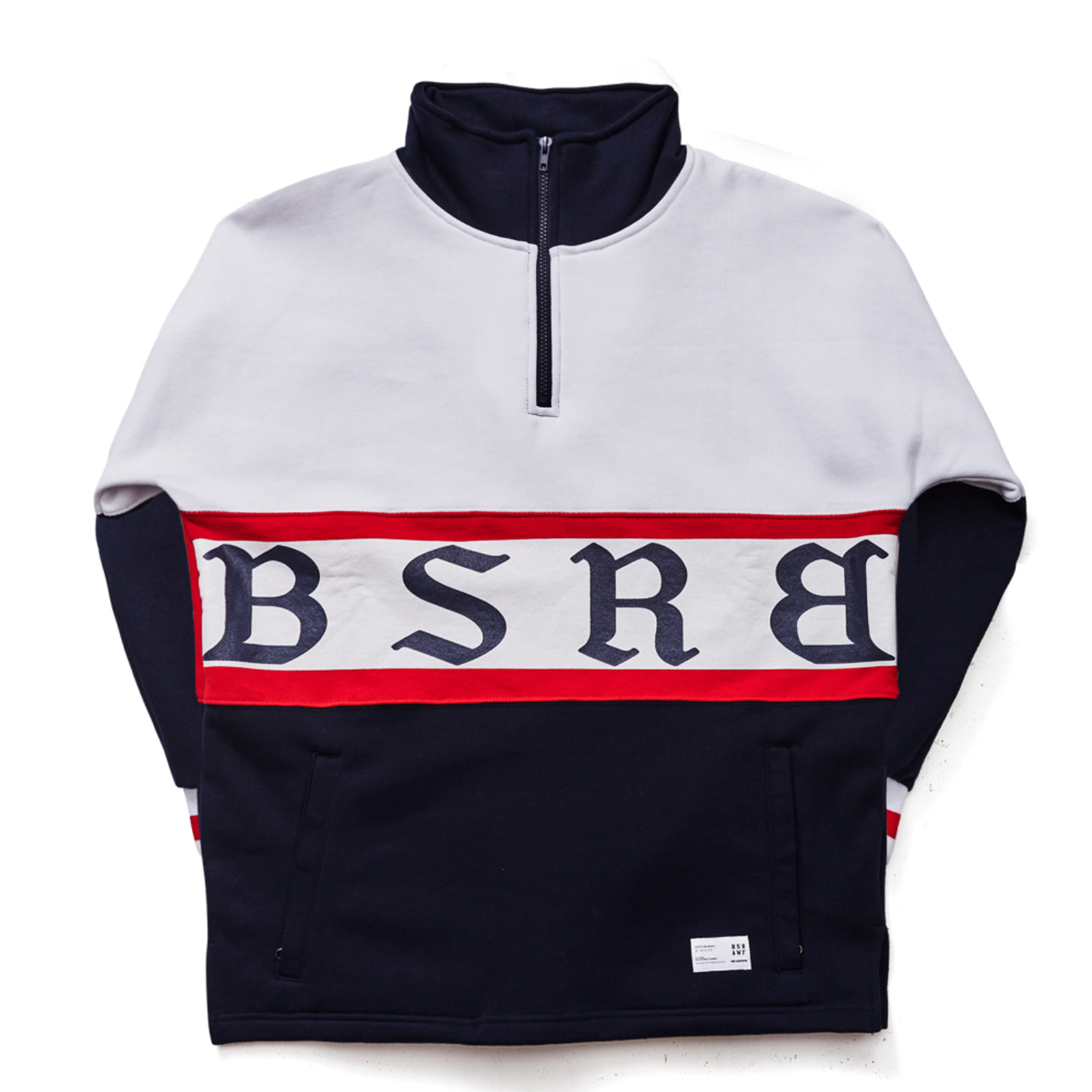 BSRB HN ZIPUP PULLOVER WHITE