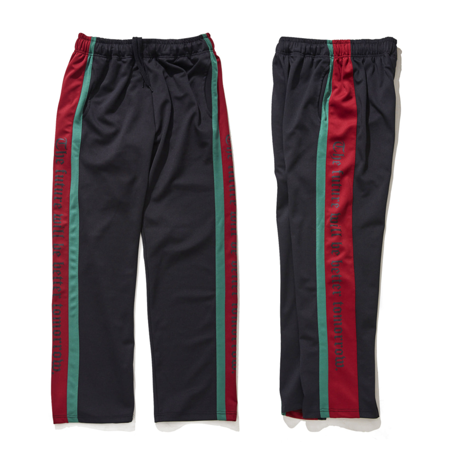 DOUBLE LINE TRACK PANTS BLACK