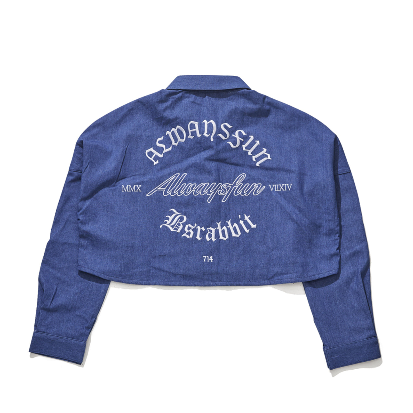 BSRABBIT ALWAYSFUN CROP SHIRT DENIM