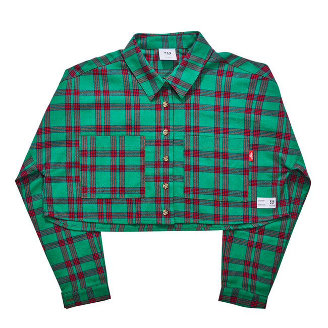 BSRAWF CHECK CROP SHIRT GREEN