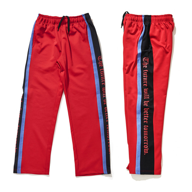 DOUBLE LINE TRACK PANTS RED