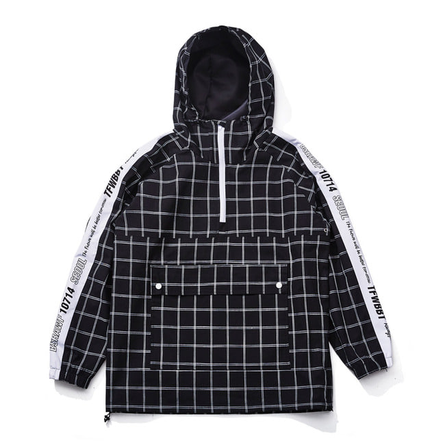POISE ANORACK JACKET BLACK CHECK