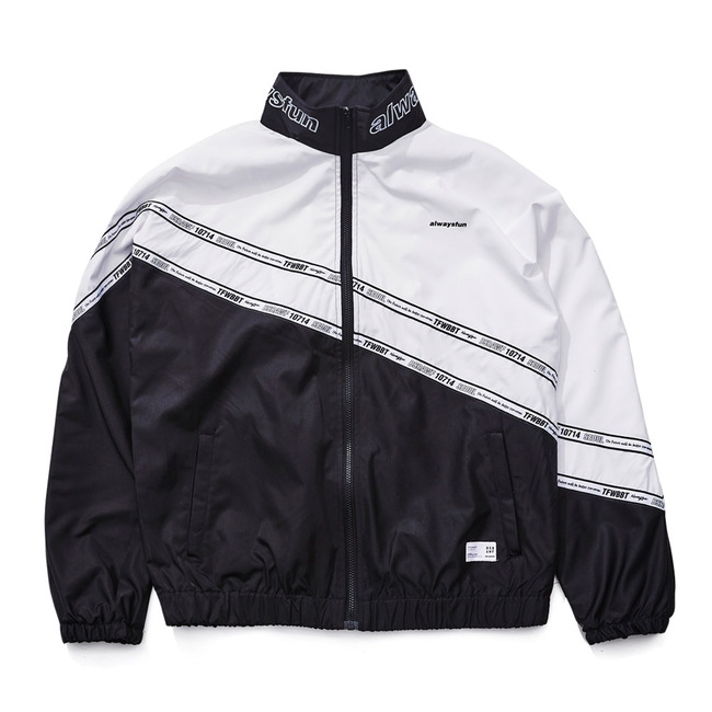 DIAGONAL LINE TRACK JACKET BLACK