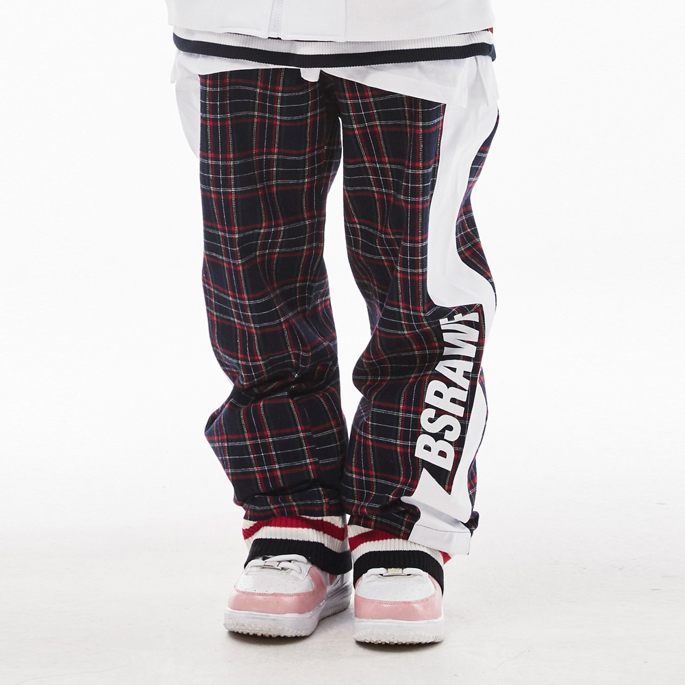 BSRAWF WATERPROOF TRACK PANTS CHECK NAVY
