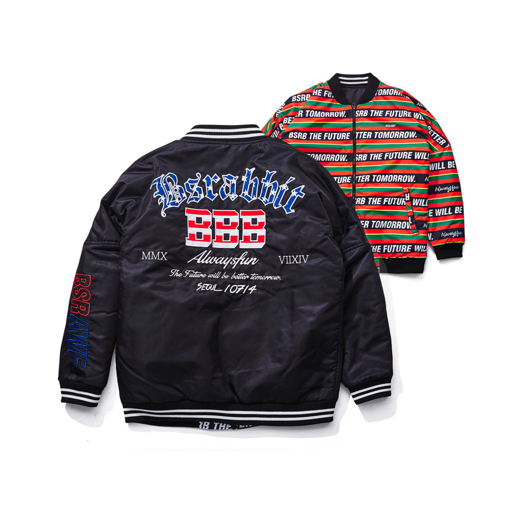 IMPRESSION REVERSIBLE STADIUM JACKET BLACK