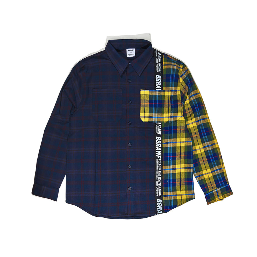 BSRABBIT BSR TP SHIRT 2CHECK NAVY/YELLOW