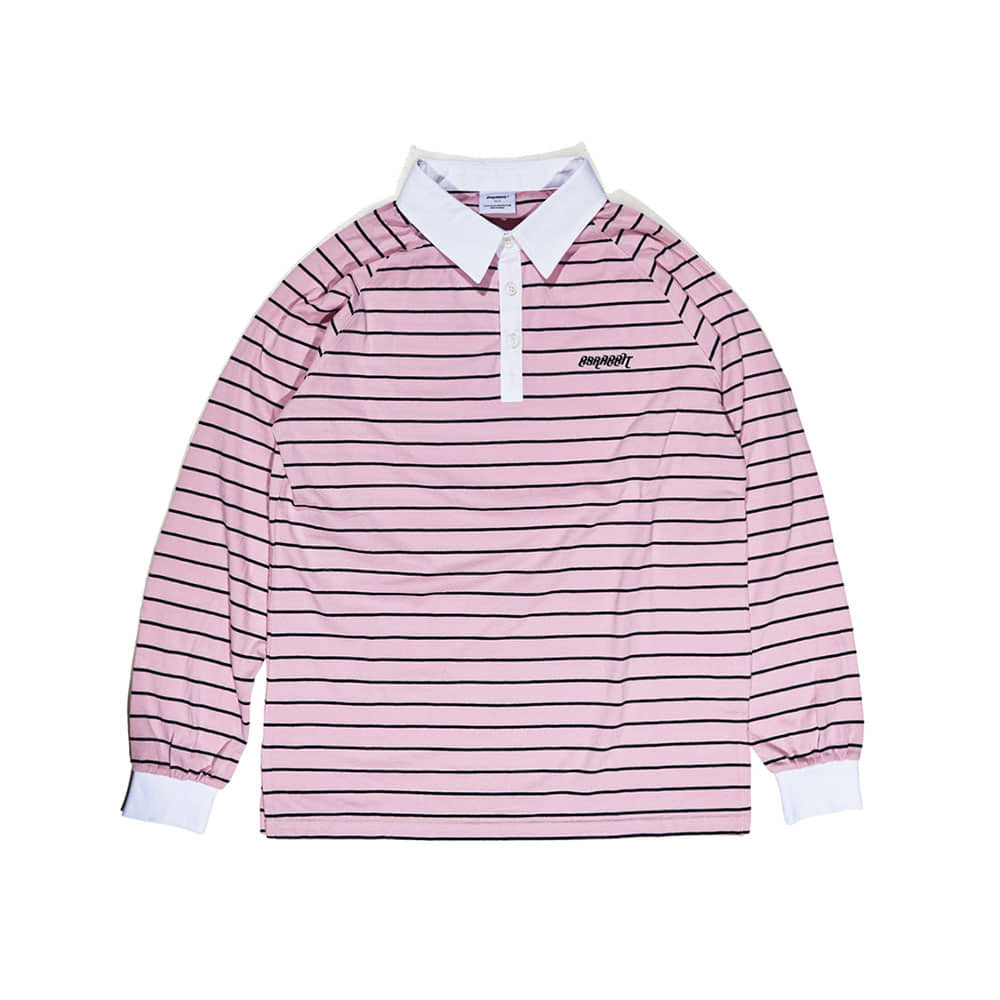 BSRABBIT LOGO LONG SLEEVE PIQUE STRIPE PINK