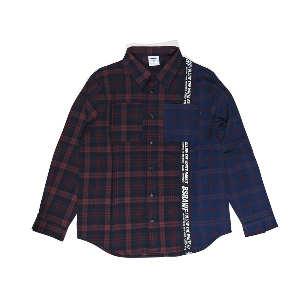 BSRABBIT BSR TP SHIRT 2CHECK BROWN/NAVY