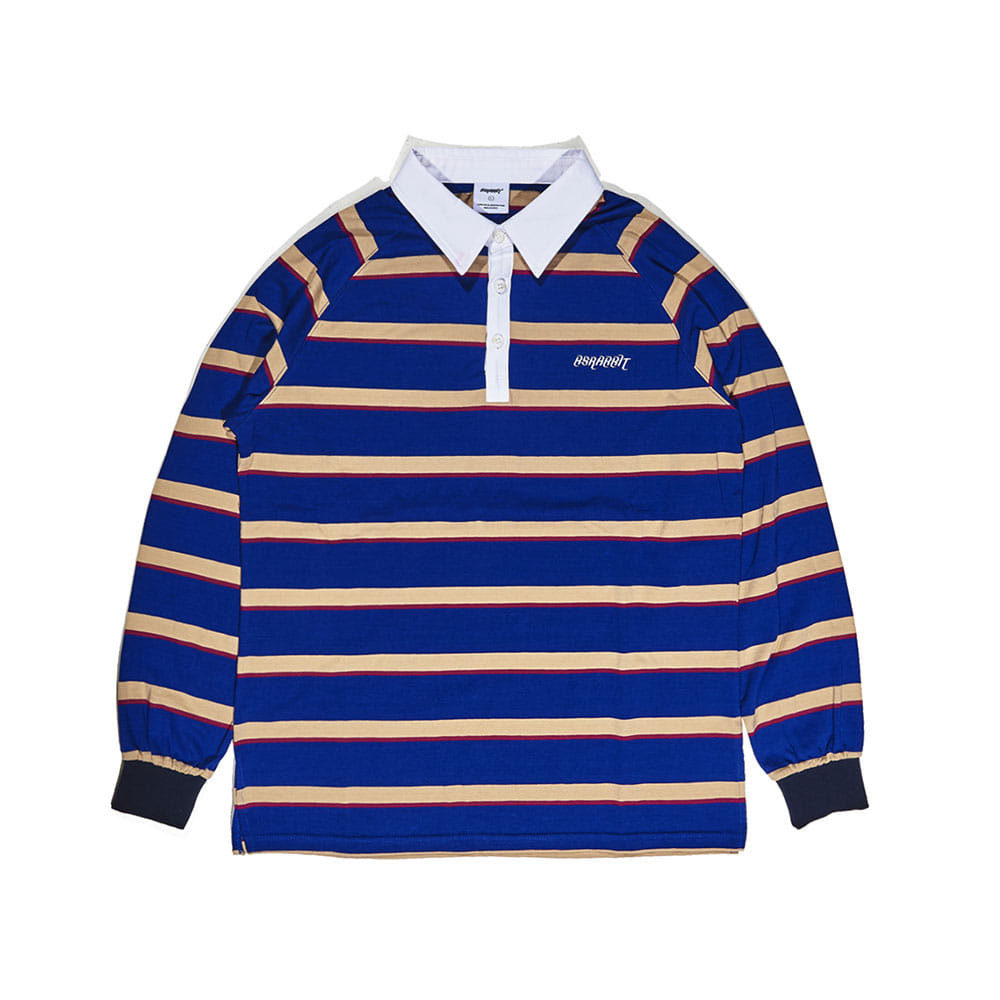 BSRABBIT LOGO LONG SLEEVE PIQUE STRIPE NAVY